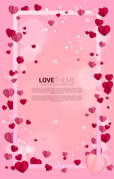 正方形のフレームコンセプトを飛んでハートペーパーアート。バレンタインデーと愛のテーマとポスター Premiumベクター