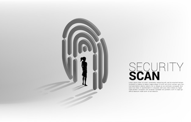 指スキャンで立っている実業家。アイデンティティデータのセキュリティおよびプライバシー技術の概念 Premiumベクター