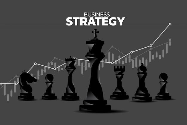 収益成長グラフの背景とチェスピースのシルエット。 Premiumベクター