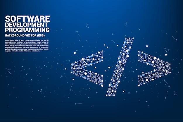 ベクトルポリゴンソフトウェア開発プログラミングタグアイコン Premiumベクター