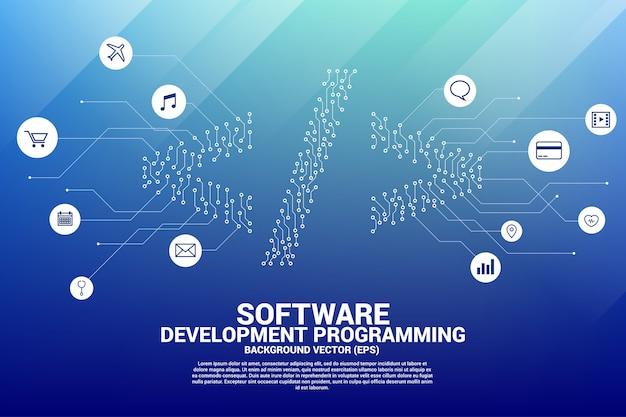 ベクトルドットは、ライン回路基板スタイルのソフトウェア開発プログラミングタグアイコンを接続します。 Premiumベクター