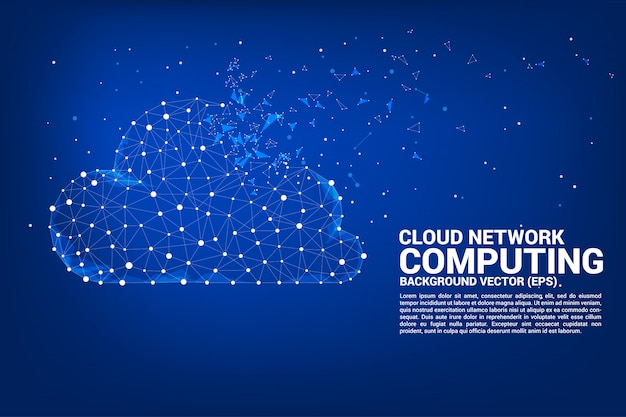 Облако вычислительной сети концепции многоугольника Premium векторы