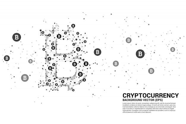 Вектор биткойн значок из многоугольника точка соединительной линии. концепция технологии криптовалюты Premium векторы