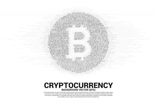 Векторный символ монеты с битовой матрицей Premium векторы