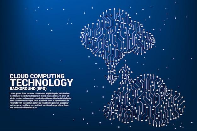 Облако вычислительной сети технологии печатной платы графический стиль Premium векторы