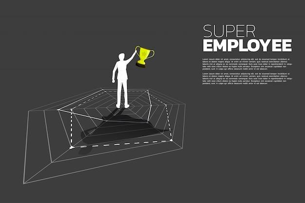スーパーヒーローの影付きのクモのグラフの上にトロフィー立って実業家のシルエット。最高の従業員と人事管理の概念。 Premiumベクター