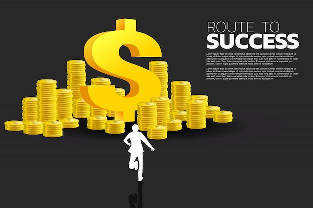 ドルのお金のアイコンとコインのスタックを実行している実業家のシルエット。成功ビジネスとキャリアパスの概念。 Premiumベクター
