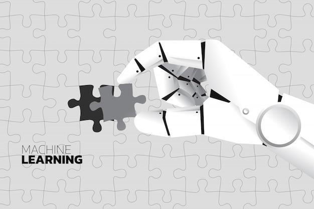 ロボットハンドは最後のジグソーパズルを完成させる。 Premiumベクター