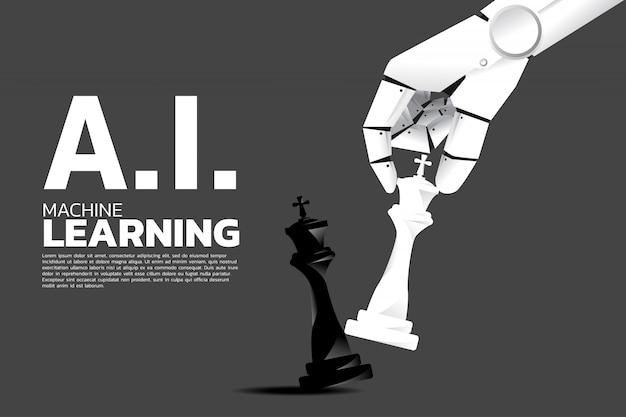 ロボットの手がチェスの駒をキングにチェックメイトします。 Premiumベクター