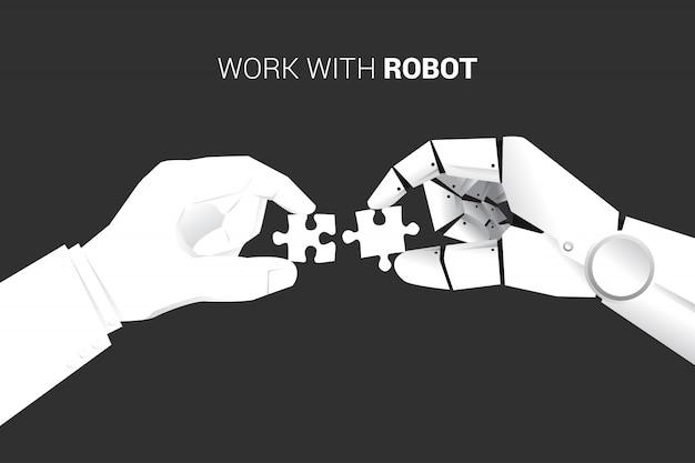 ビジネスマンとロボットは一緒に合うようにジグソーパズルのピースを置きます。 Premiumベクター