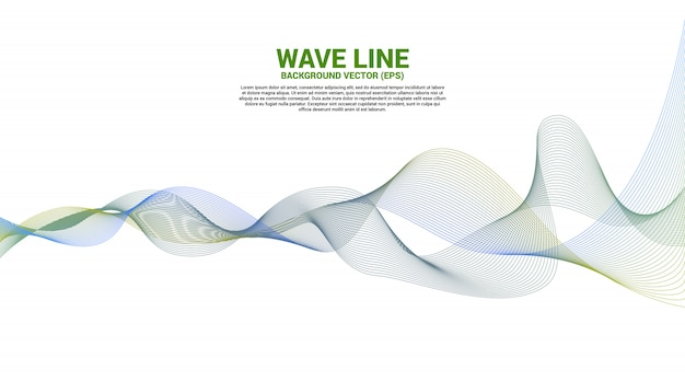 青と緑の白い背景の上の音波の曲線。テーマ技術未来的なベクトルの要素 Premiumベクター
