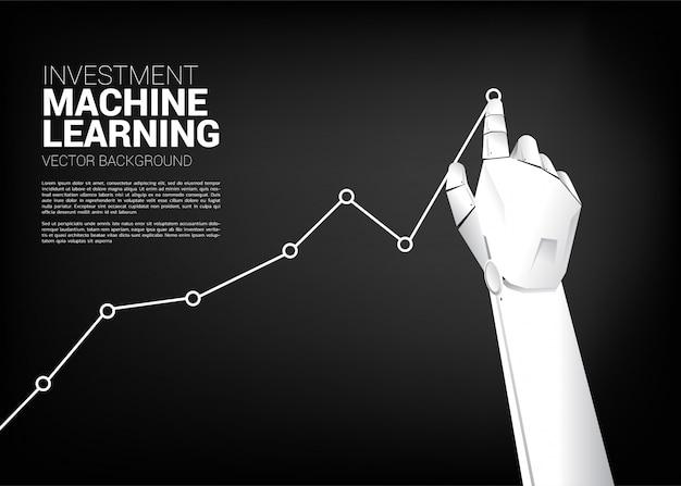 ロボットの手の動きはビジネスグラフを高く引きます。 Premiumベクター