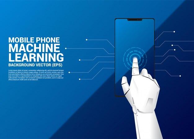 携帯電話の画面にロボットの手が触れます。 Premiumベクター