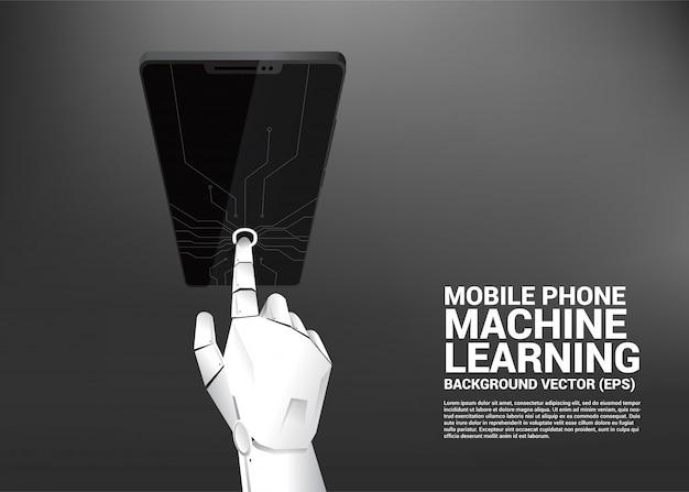 携帯電話の画面上のロボットハンドタッチ Premiumベクター