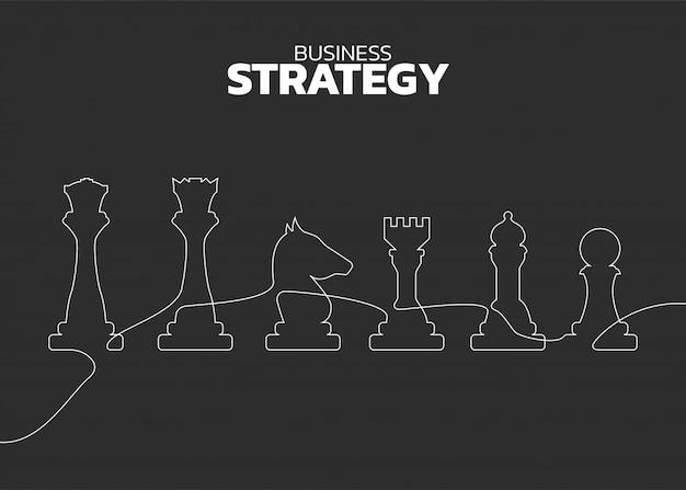 チェスの駒のシルエットラインベクトル Premiumベクター
