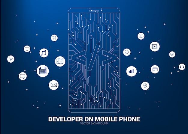 回路開発の背景を持つソフトウェア開発プログラミング携帯電話 Premiumベクター