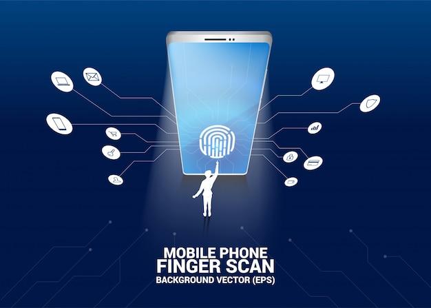 Отпечаток пальца бизнесмена касания на значке сканирования пальца на экране мобильного телефона Premium векторы