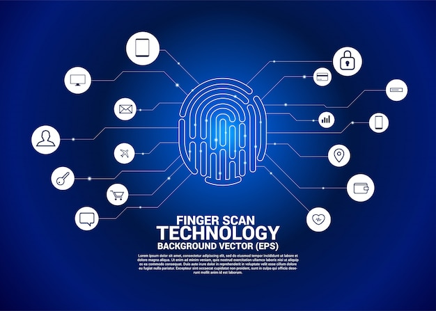 Вектор значок отпечатка пальца с функциональным значком Premium векторы