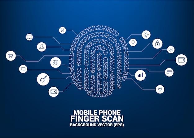 Вектор отпечаток пальца символ от точки и линии стиль печатной платы. Premium векторы