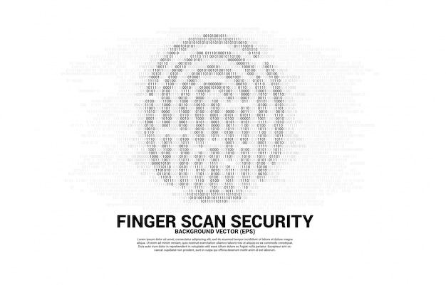 Вектор значок отпечатка пальца от одного и нулевого двоичного кода. концепция технологии сканирования отпечатков пальцев и конфиденциальности. Premium векторы