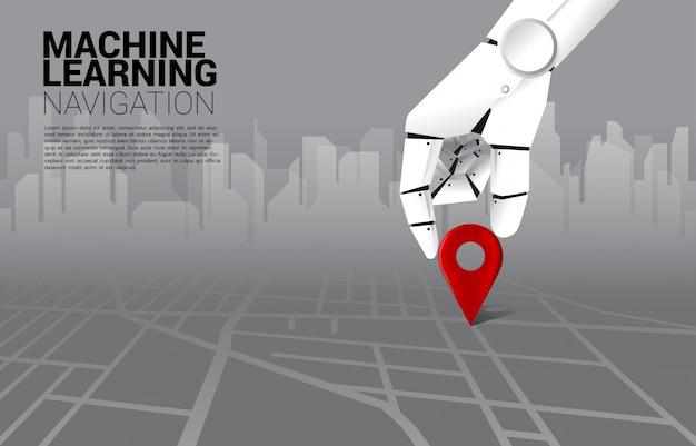 道路地図上のロボット場所ピンマーカーの手を閉じます。愛学習機とナビゲーションシステムの概念。 Premiumベクター