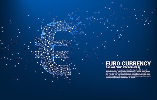 多角形のドット接続線からベクトルお金ユーロ通貨アイコン。ヨーロッパの金融ネットワーク接続のための概念。 Premiumベクター