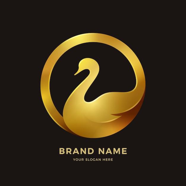 白鳥のロゴ Premiumベクター