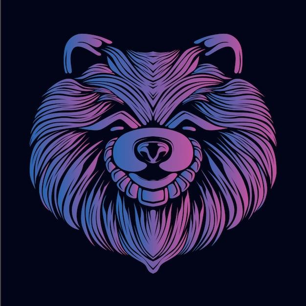 紫犬の頭の図 Premiumベクター