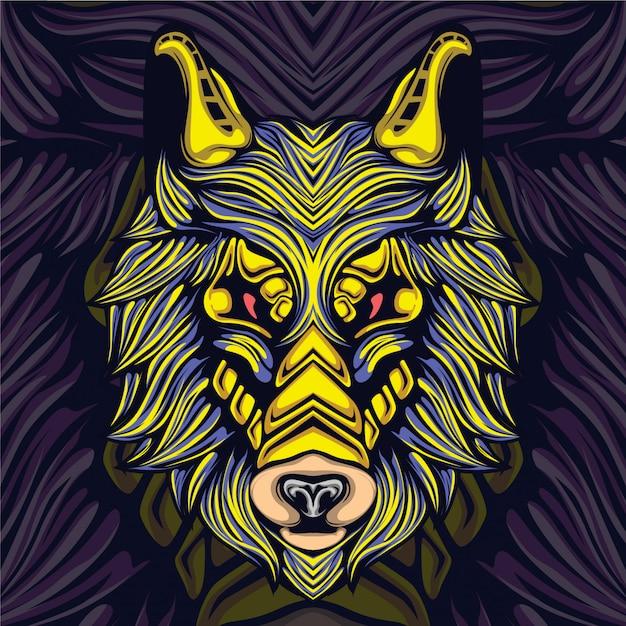 Волк игровой киберспорт талисман логотип Premium векторы