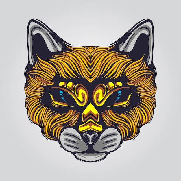 Иллюстрация лица кота Premium векторы