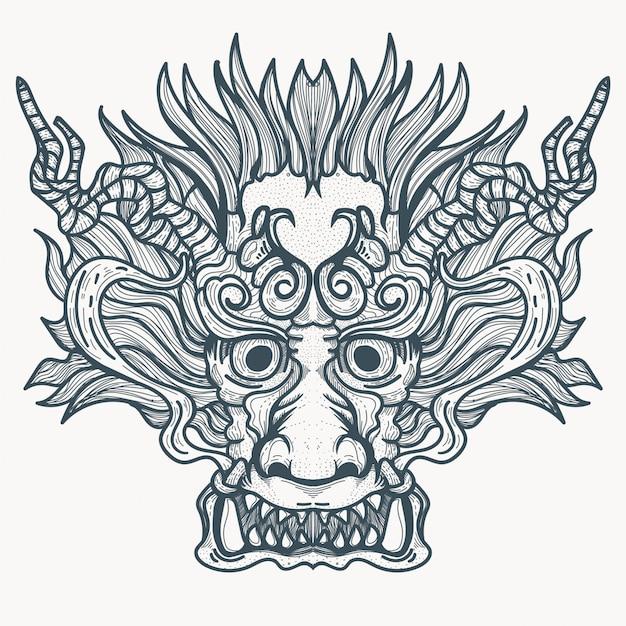 Китайский дракон демоническая татуировка Premium векторы