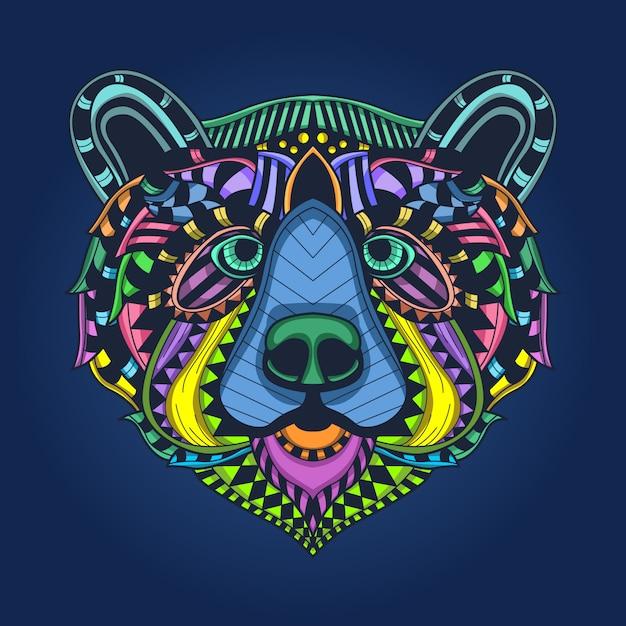 クマの頭のカラフルなパターン Premiumベクター