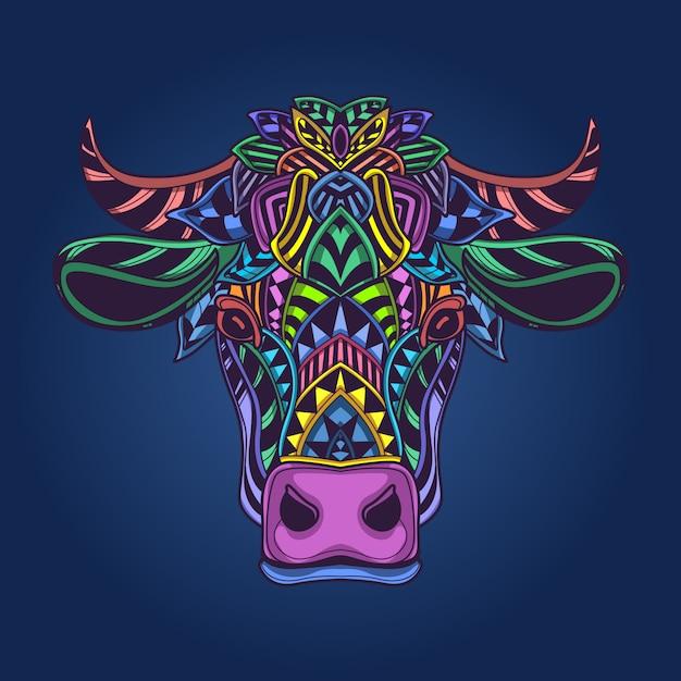 牛の頭のカラフルなアートワーク Premiumベクター