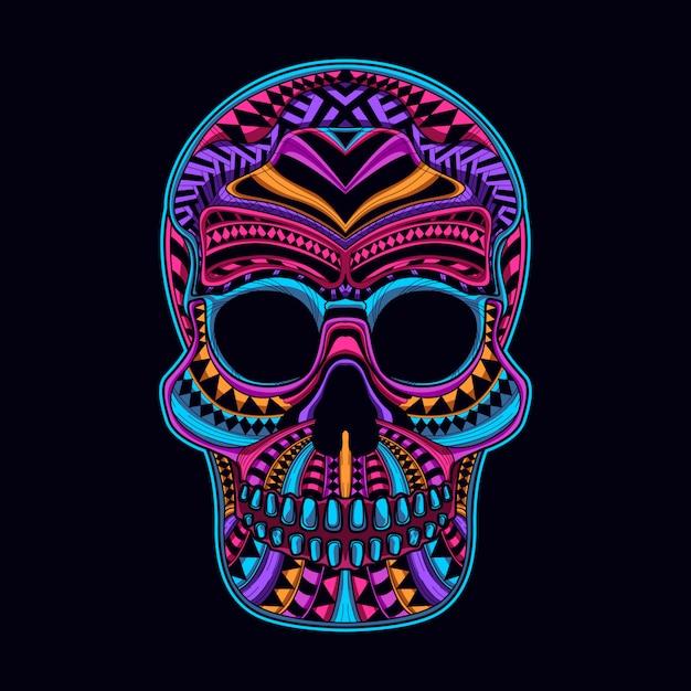 頭蓋骨は濃いネオン色で輝く Premiumベクター