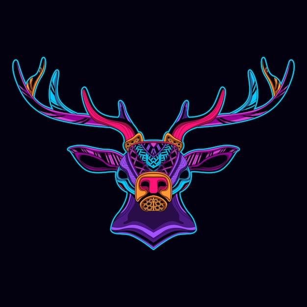 ネオンカラーの鹿 Premiumベクター