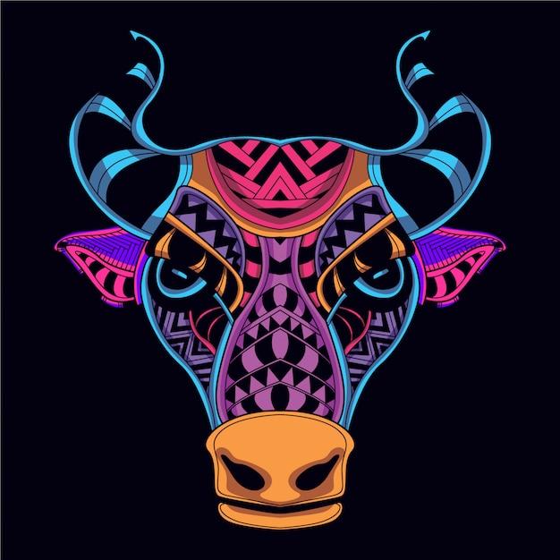 Голова коровы от абстрактного свечения неонового цвета Premium векторы
