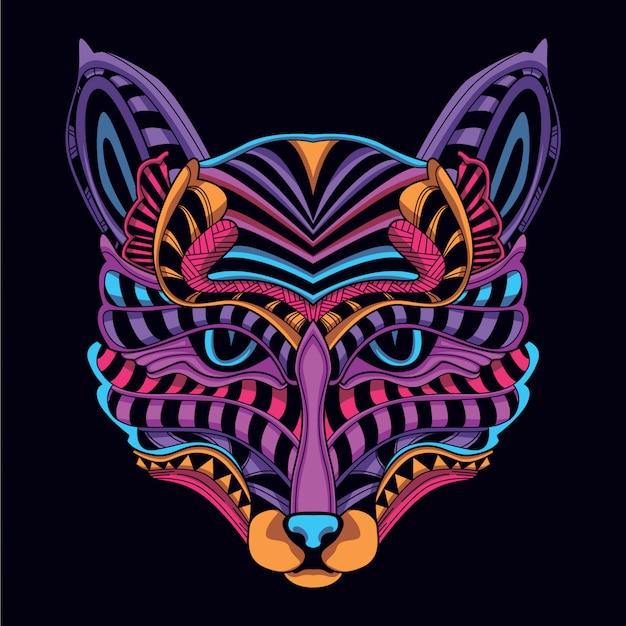 Свечение в темноте неоновый цвет декоративная кошачья голова Premium векторы