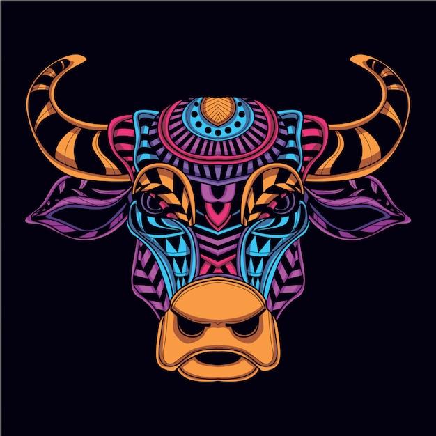 グローネオンカラーの装飾的な牛の頭 Premiumベクター