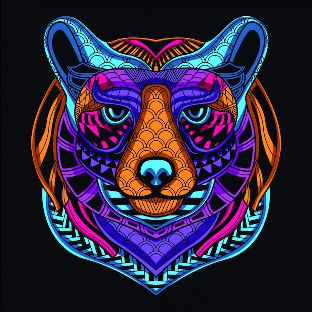 ネオンカラーから暗い装飾的なクマの頭の中で輝きます。 Premiumベクター