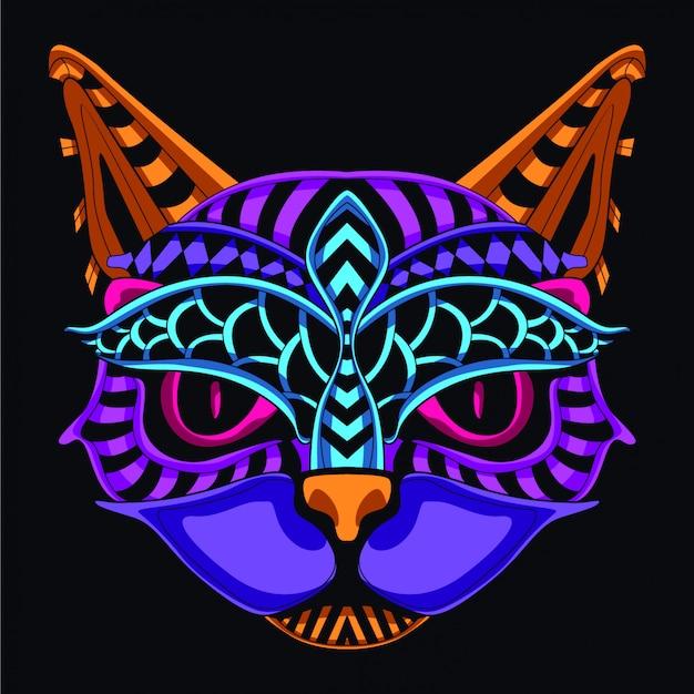 暗い装飾的な猫の顔を輝く Premiumベクター