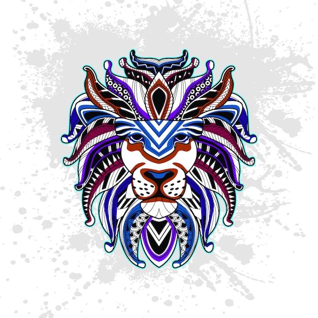 抽象的な装飾的なパターンからのライオン Premiumベクター