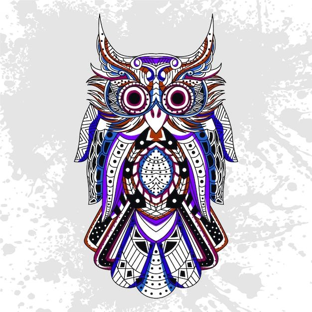 抽象的な形で飾られたフクロウ Premiumベクター