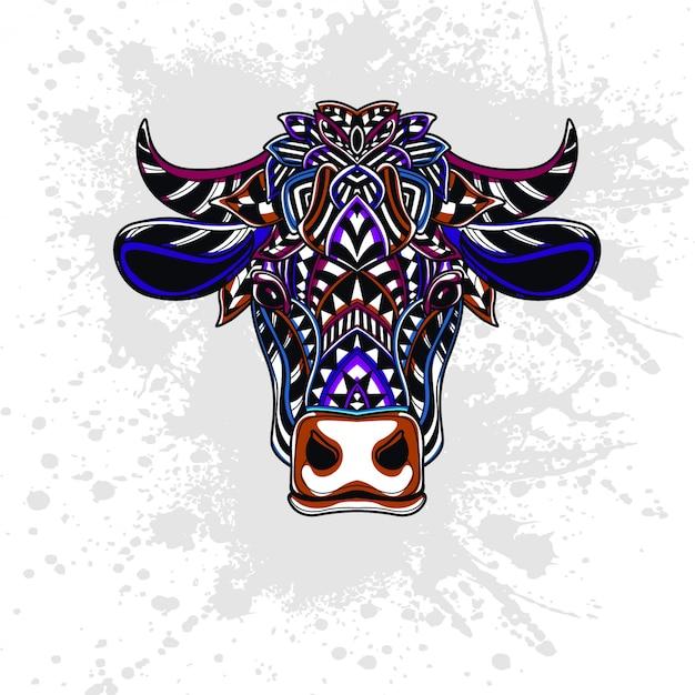 抽象的な形で飾られた牛 Premiumベクター