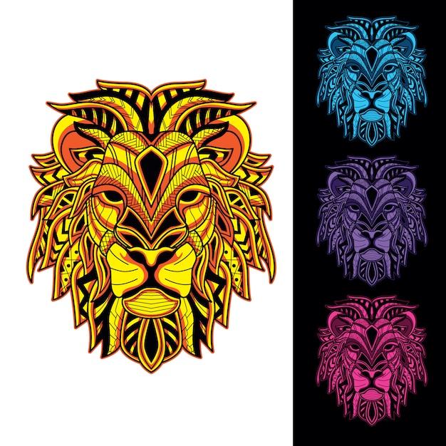 暗闇の中で装飾的なライオンセットグロー Premiumベクター