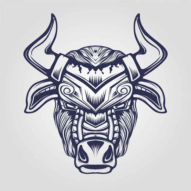 牛の抽象的なラインアート Premiumベクター