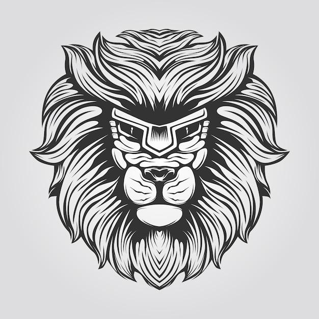 Черно-белая линия искусства льва Premium векторы
