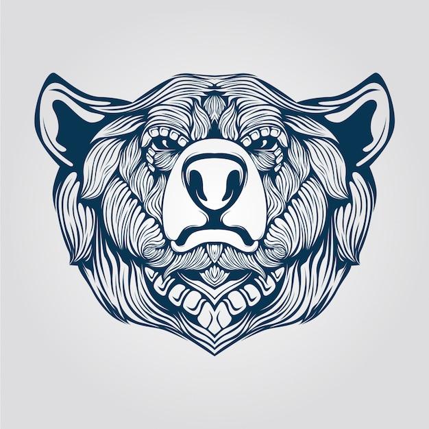 クマの頭のラインアート Premiumベクター