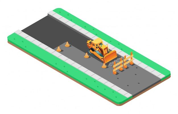 Изометрическая иллюстрация ремонта асфальтовой дороги Premium векторы