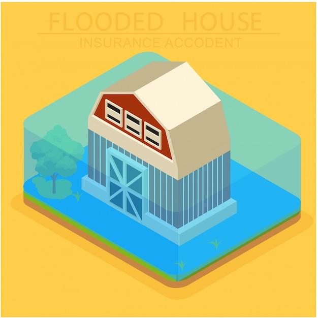 住宅被害に対する等尺性保険の概念 Premiumベクター