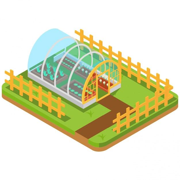 等尺性温室栽培園芸 Premiumベクター
